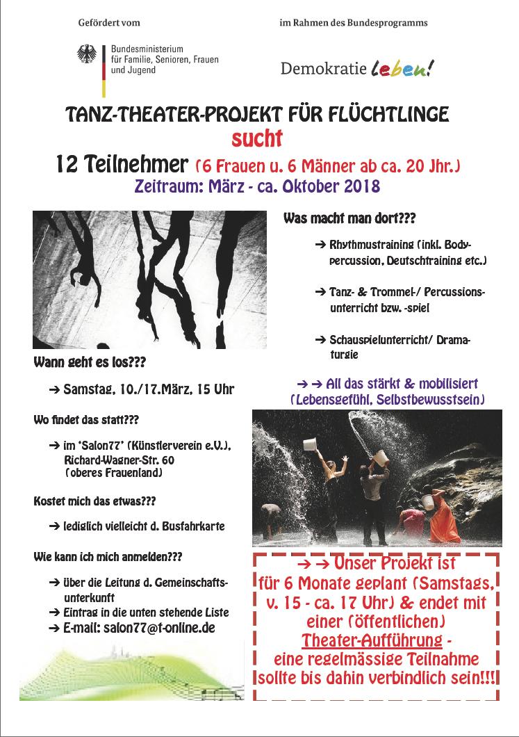 "Salon 77: ""Tanz-Theater-Projekt für Flüchtlinge"""