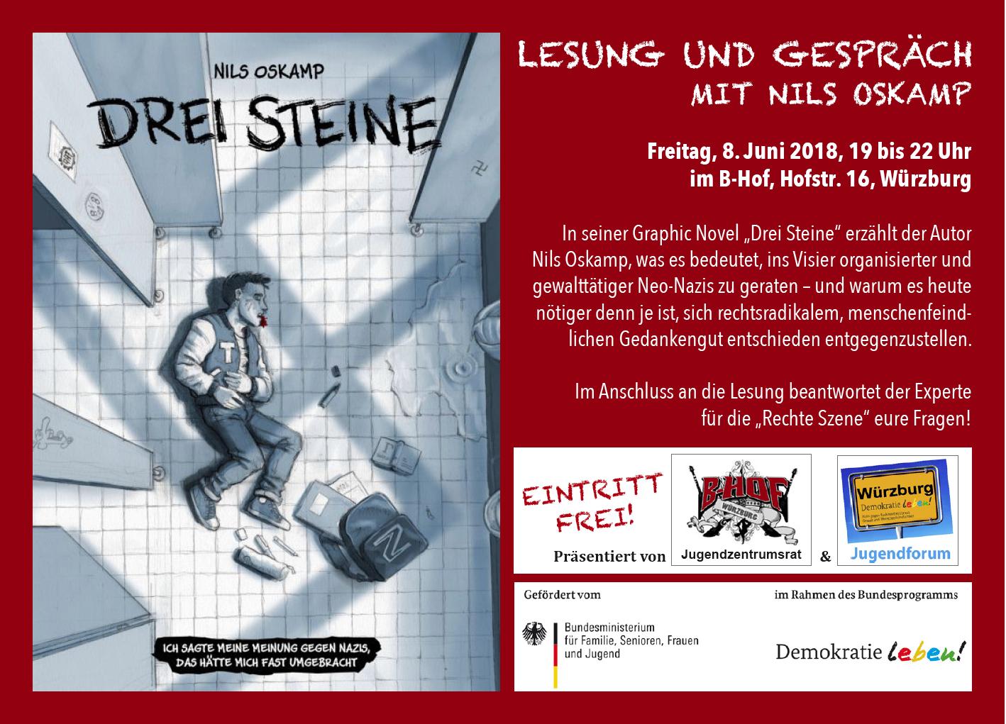 """B-HOF Jugendzentrumsrat: """"Lesung und Gespräch mit Nils Oskamp"""""""